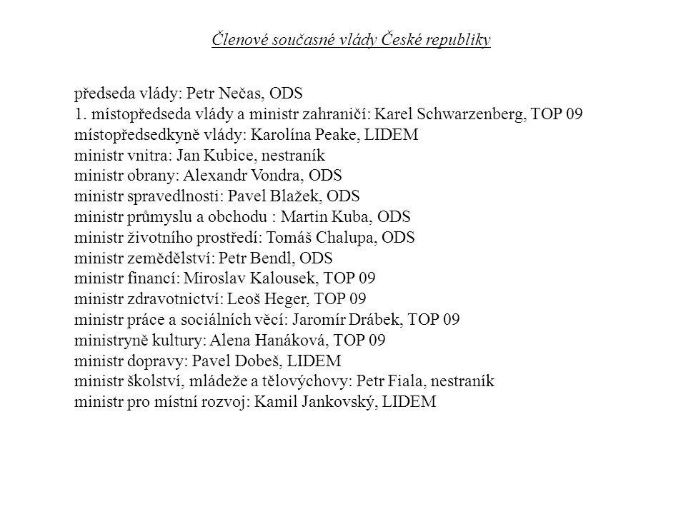 předseda vlády: Petr Nečas, ODS 1.