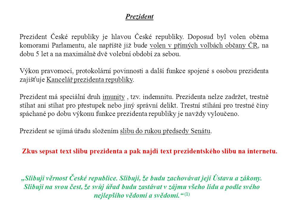 Česká republika je parlamentní republika, ve které je hlava státu součástí pilíře výkonné moci s omezenými pravomocemi v rozhodovacích procesech (pasivní složka), ty většinově náleží předsedovi vlády a kabinetu (aktivní složka), ale do dění vstupuje v okamžiku napětí a krize.