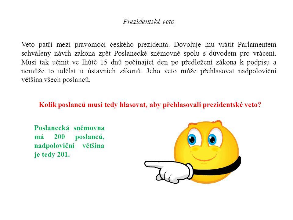 Veto patří mezi pravomoci českého prezidenta.