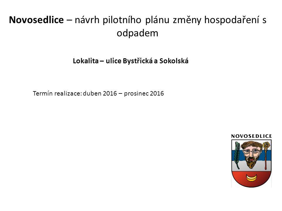 Novosedlice – návrh pilotního plánu změny hospodaření s odpadem Lokalita – ulice Bystřická a Sokolská Termín realizace: duben 2016 – prosinec 2016