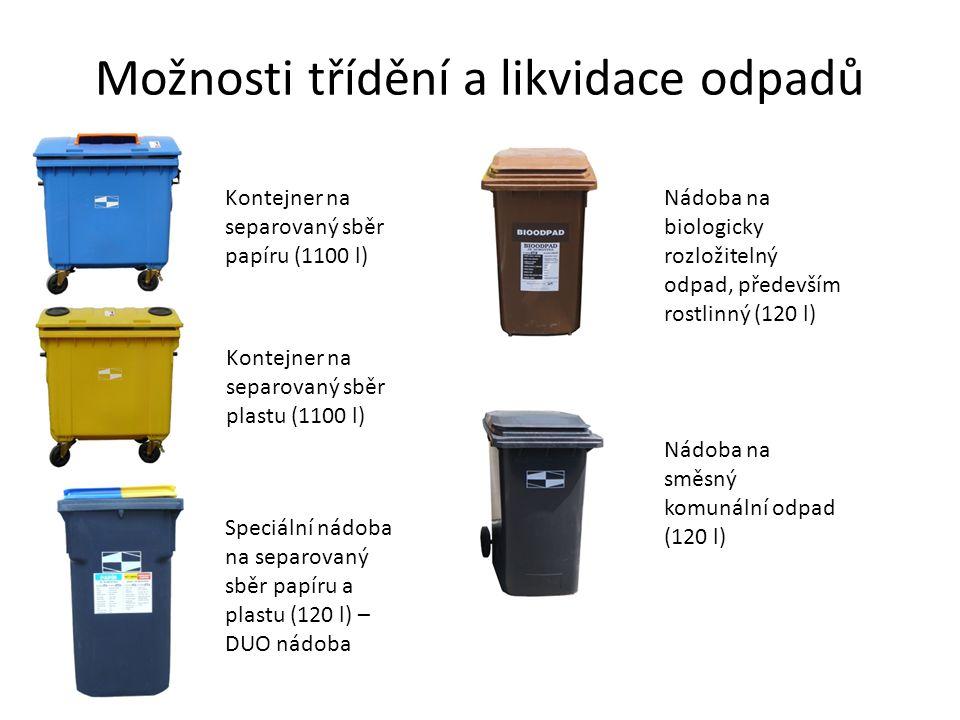 Možnosti třídění a likvidace odpadů Kontejner na separovaný sběr papíru (1100 l) Kontejner na separovaný sběr plastu (1100 l) Speciální nádoba na sepa