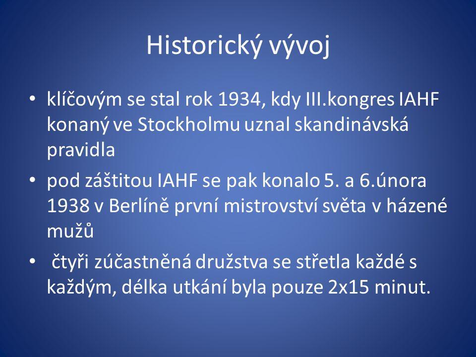 Historický vývoj klíčovým se stal rok 1934, kdy III.kongres IAHF konaný ve Stockholmu uznal skandinávská pravidla pod záštitou IAHF se pak konalo 5.