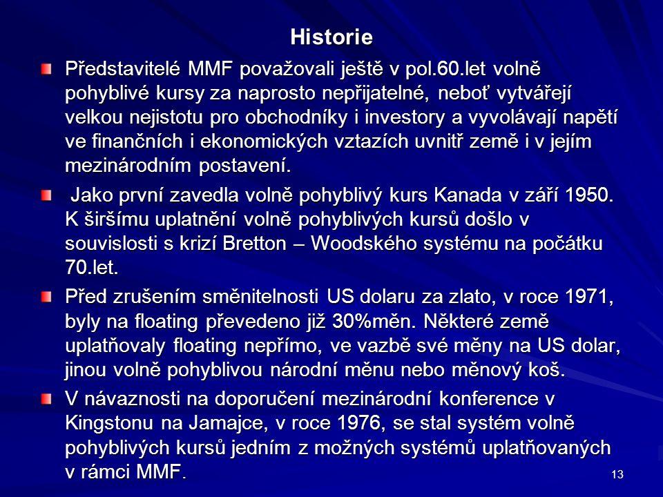 Historie Představitelé MMF považovali ještě v pol.60.let volně pohyblivé kursy za naprosto nepřijatelné, neboť vytvářejí velkou nejistotu pro obchodníky i investory a vyvolávají napětí ve finančních i ekonomických vztazích uvnitř země i v jejím mezinárodním postavení.