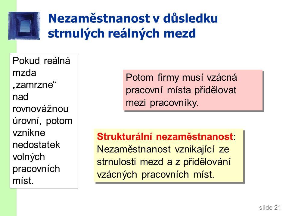 slide 21 Nezaměstnanost v důsledku strnulých reálných mezd Potom firmy musí vzácná pracovní místa přidělovat mezi pracovníky. Strukturální nezaměstnan