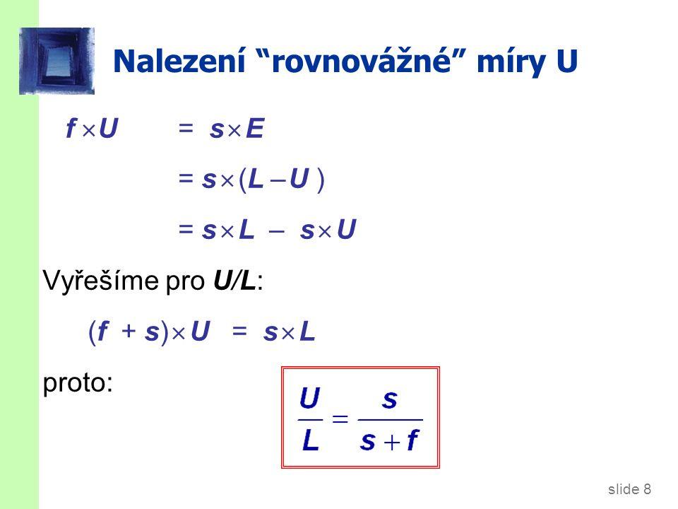"""slide 8 Nalezení """"rovnovážné"""" míry U f  U = s  E = s  (L – U ) = s  L – s  U Vyřešíme pro U/L: (f + s)  U = s  L proto:"""