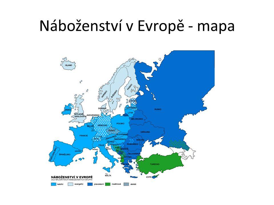 Náboženství v Evropě - mapa