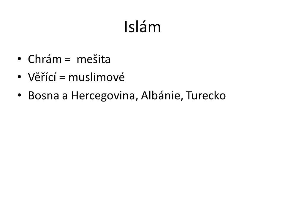 Islám Chrám = mešita Věřící = muslimové Bosna a Hercegovina, Albánie, Turecko