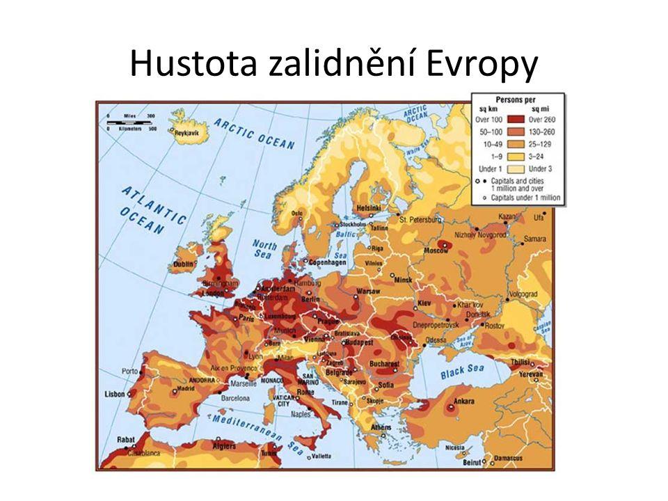 Hustota zalidnění Evropy