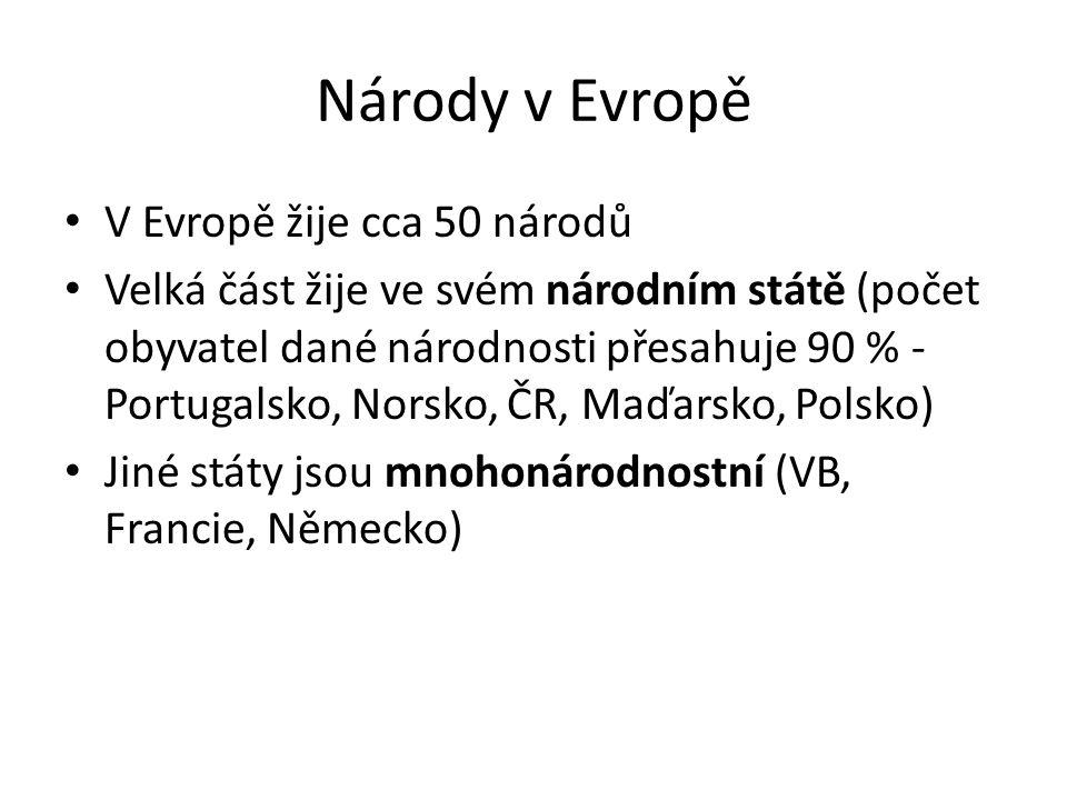 Národy v Evropě V Evropě žije cca 50 národů Velká část žije ve svém národním státě (počet obyvatel dané národnosti přesahuje 90 % - Portugalsko, Norsko, ČR, Maďarsko, Polsko) Jiné státy jsou mnohonárodnostní (VB, Francie, Německo)