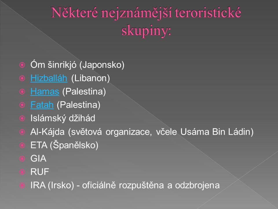  Óm šinrikjó (Japonsko)  Hizballáh (Libanon) Hizballáh  Hamas (Palestina) Hamas  Fatah (Palestina) Fatah  Islámský džihád  Al-Kájda (světová organizace, včele Usáma Bin Ládin)  ETA (Španělsko)  GIA  RUF  IRA (Irsko) - oficiálně rozpuštěna a odzbrojena
