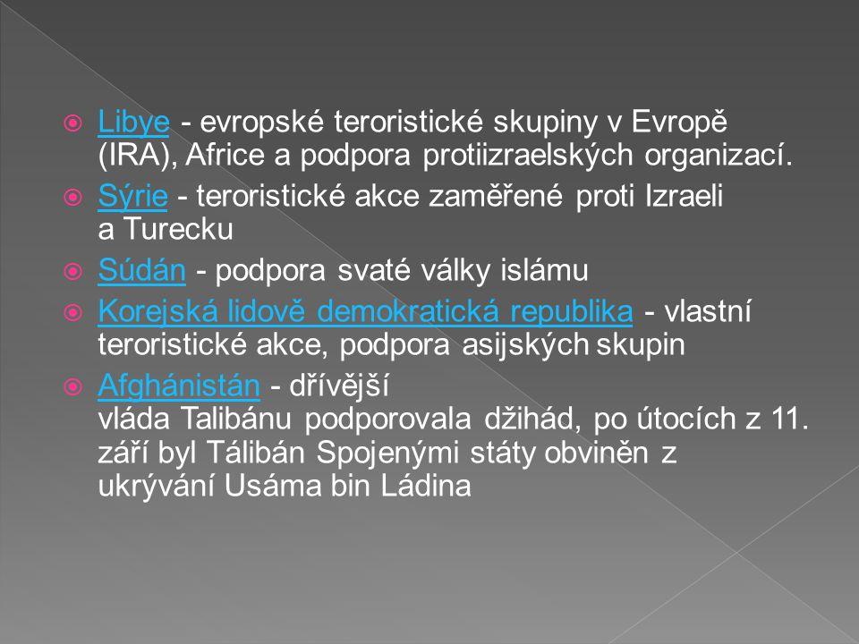  Libye - evropské teroristické skupiny v Evropě (IRA), Africe a podpora protiizraelských organizací.