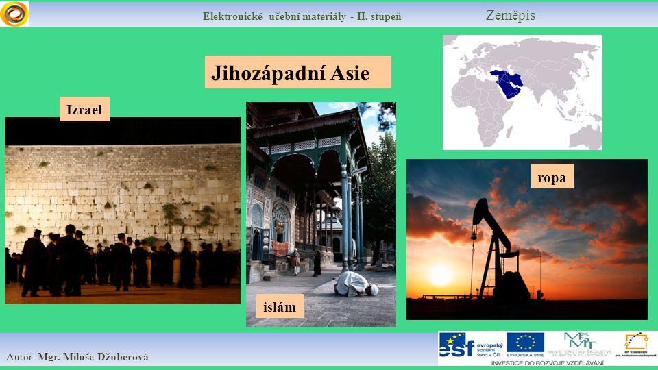 Elektronické učební materiály - II.stupeň Zeměpis Autor: Mgr.