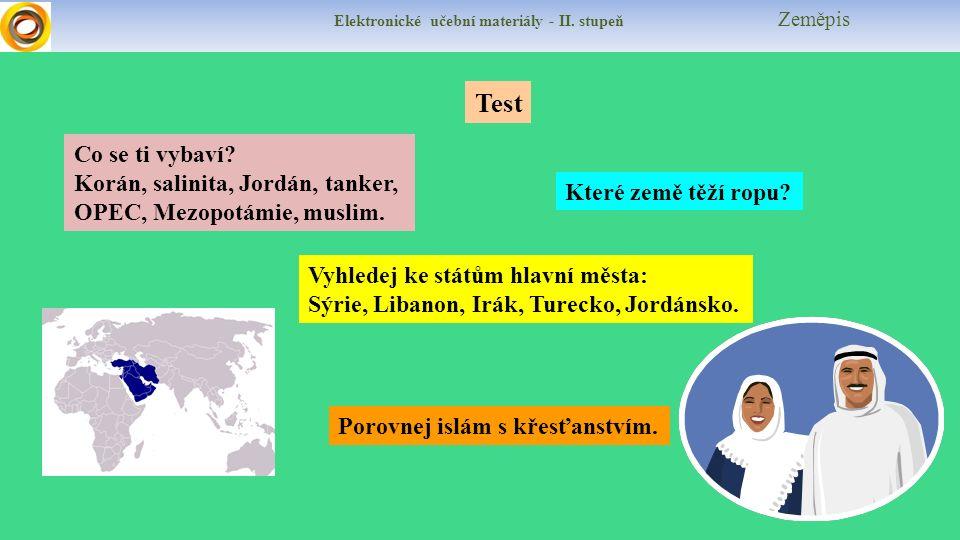 Elektronické učební materiály - II. stupeň Zeměpis Test Které země těží ropu.