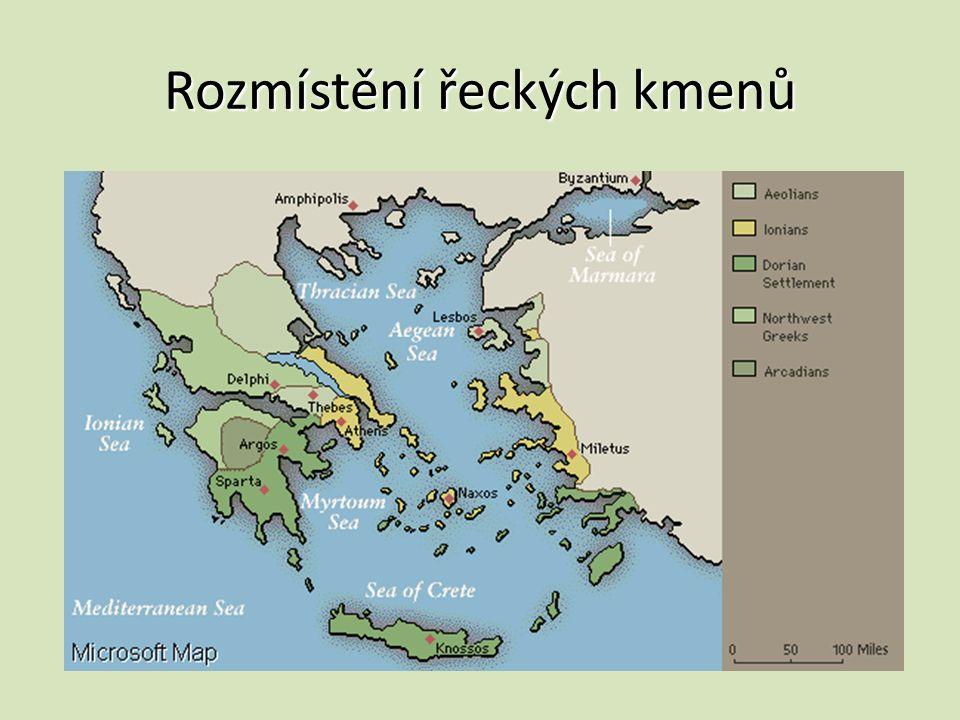 Rozmístění řeckých kmenů