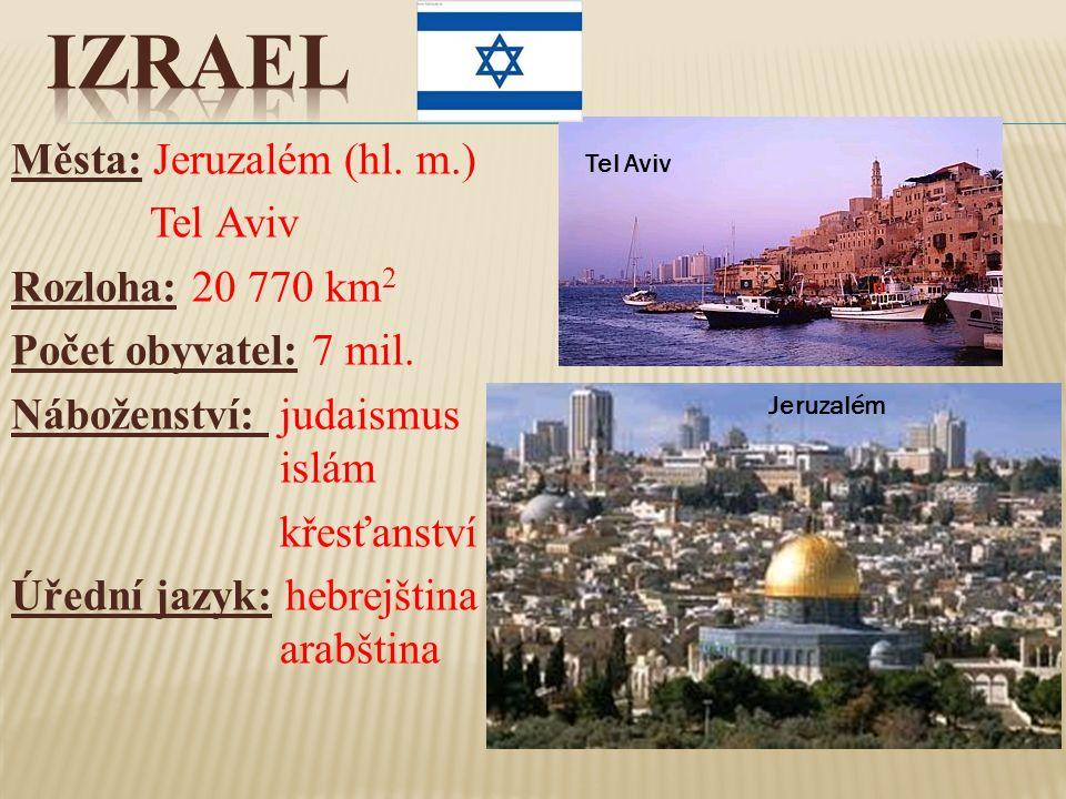 Města: Jeruzalém (hl. m.) Tel Aviv Rozloha: 20 770 km 2 Počet obyvatel: 7 mil. Náboženství: judaismus islám křesťanství Úřední jazyk: hebrejština arab