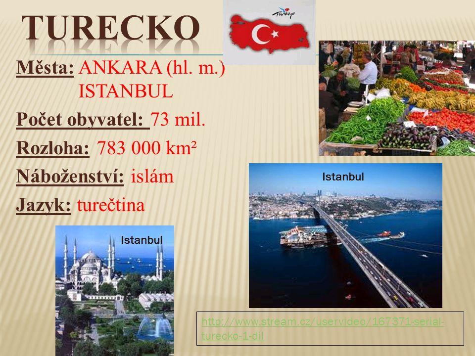 Města: ANKARA (hl. m.) ISTANBUL Počet obyvatel: 73 mil. Rozloha: 783 000 km² Náboženství: islám Jazyk: turečtina Istanbul http://www.stream.cz/uservid