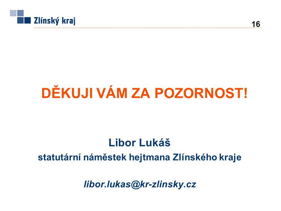 16 Libor Lukáš statutární náměstek hejtmana Zlínského kraje libor.lukas@kr-zlinsky.cz DĚKUJI VÁM ZA POZORNOST!