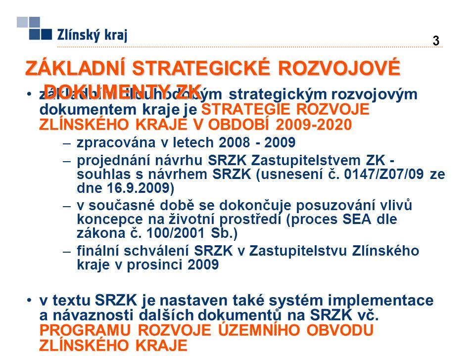 3 základním dlouhodobým strategickým rozvojovým dokumentem kraje je STRATEGIE ROZVOJE ZLÍNSKÉHO KRAJE V OBDOBÍ 2009-2020 –zpracována v letech 2008 - 2009 –projednání návrhu SRZK Zastupitelstvem ZK - souhlas s návrhem SRZK (usnesení č.