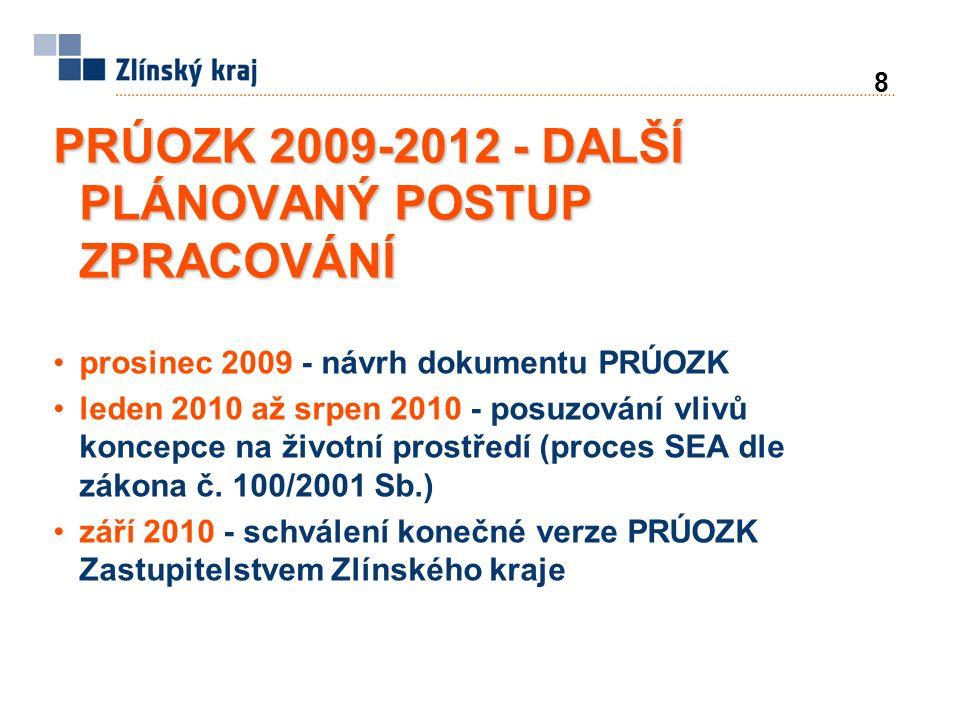 8 PRÚOZK 2009-2012 - DALŠÍ PLÁNOVANÝ POSTUP ZPRACOVÁNÍ prosinec 2009 - návrh dokumentu PRÚOZK leden 2010 až srpen 2010 - posuzování vlivů koncepce na životní prostředí (proces SEA dle zákona č.