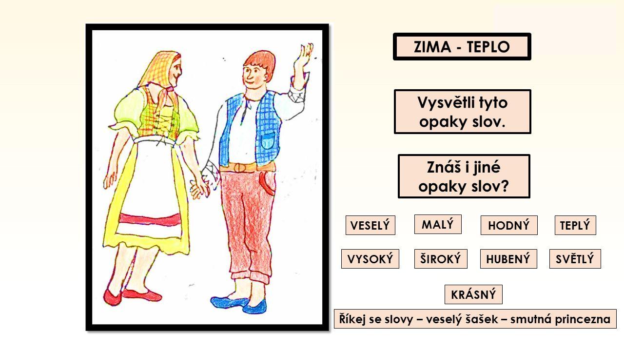 ZIMA - TEPLO Vysvětli tyto opaky slov.Znáš i jiné opaky slov.