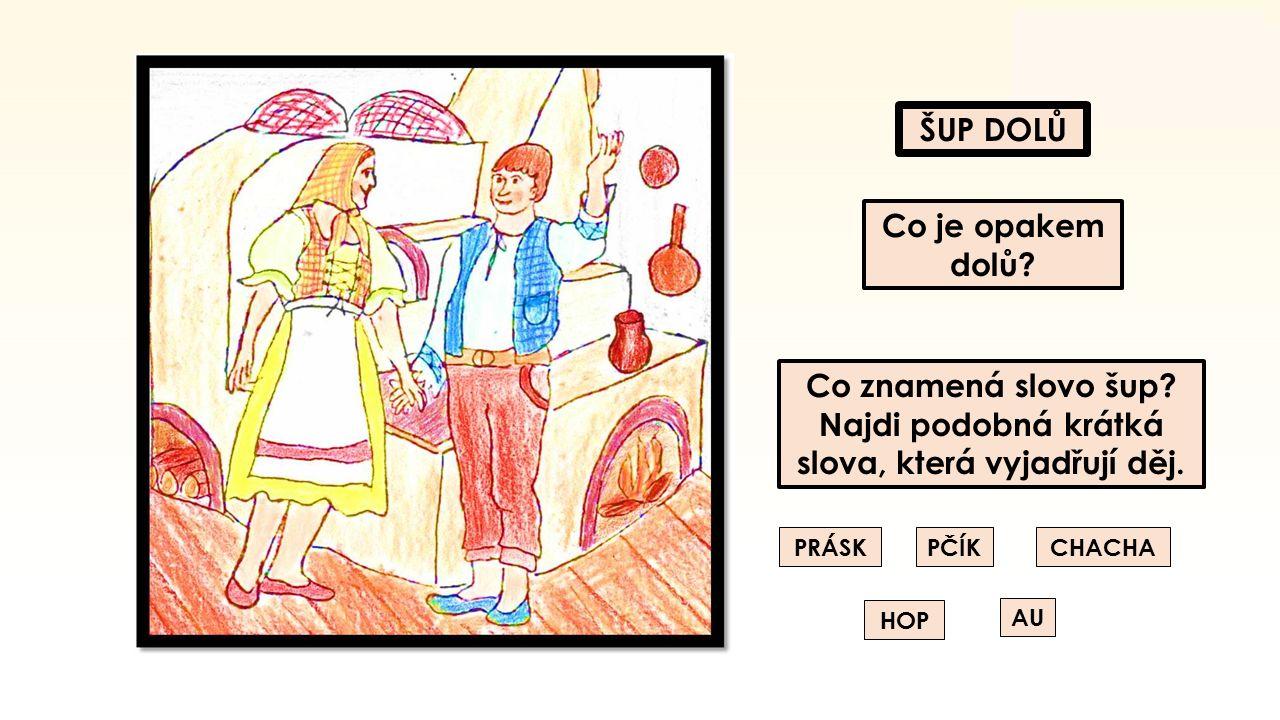 ŠUP DOLŮ Co je opakem dolů.Co znamená slovo šup. Najdi podobná krátká slova, která vyjadřují děj.