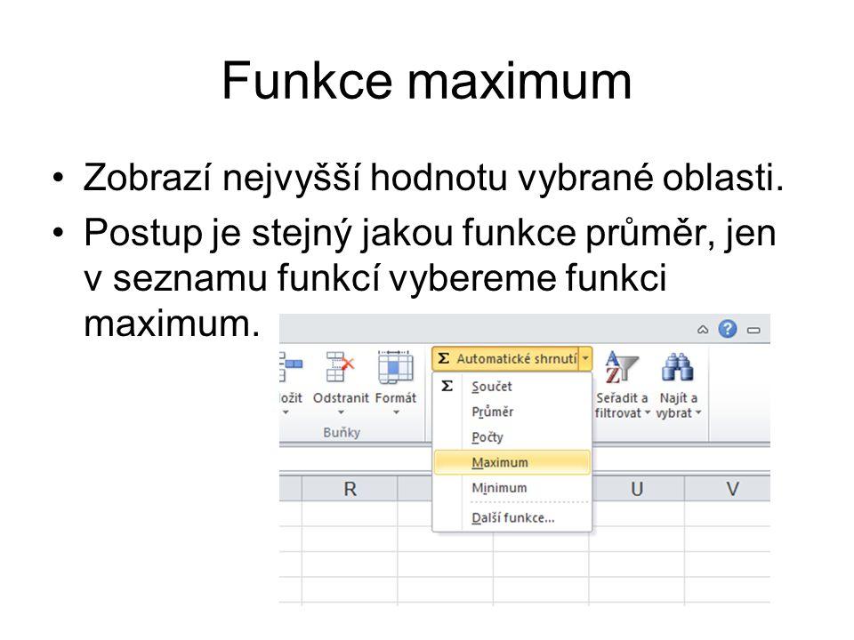 Funkce maximum Zobrazí nejvyšší hodnotu vybrané oblasti.