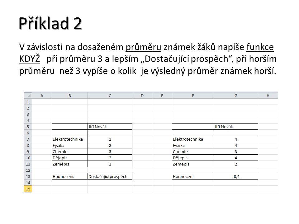 """Příklad 2 V závislosti na dosaženém průměru známek žáků napíše funkce KDYŽ při průměru 3 a lepším """"Dostačující prospěch"""", při horším průměru než 3 vyp"""