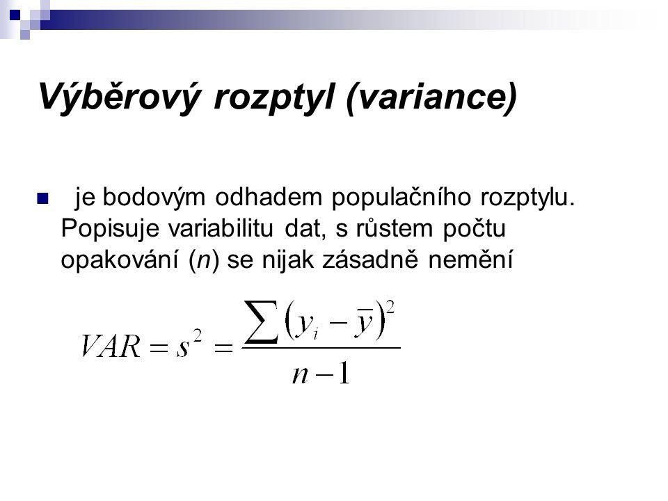 Výběrový rozptyl (variance) je bodovým odhadem populačního rozptylu.