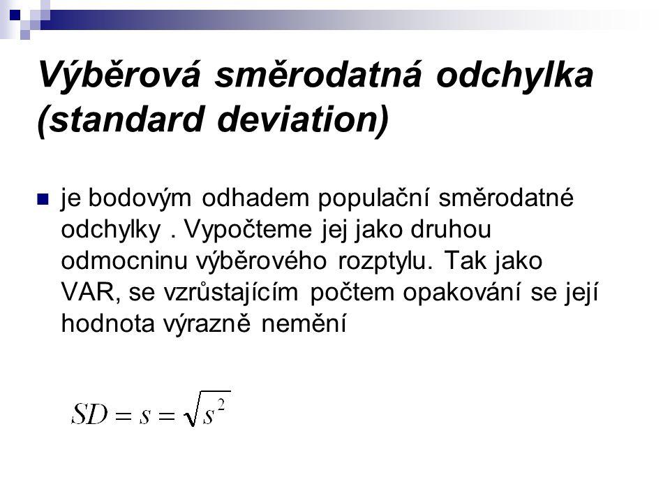 Výběrová směrodatná odchylka (standard deviation) je bodovým odhadem populační směrodatné odchylky.