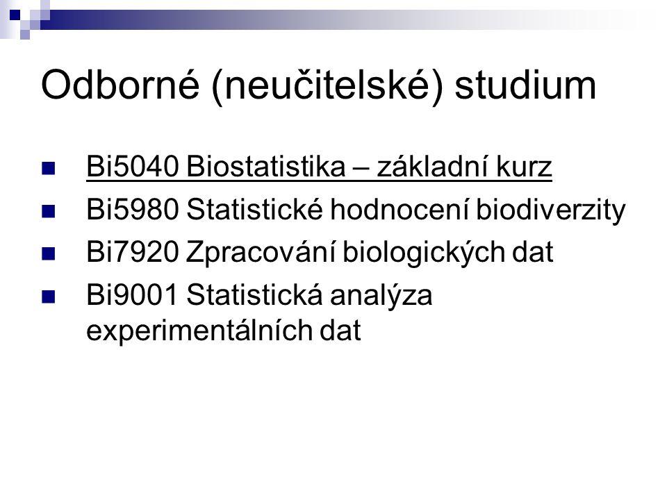Odborné (neučitelské) studium Bi5040 Biostatistika – základní kurz Bi5980 Statistické hodnocení biodiverzity Bi7920 Zpracování biologických dat Bi9001 Statistická analýza experimentálních dat