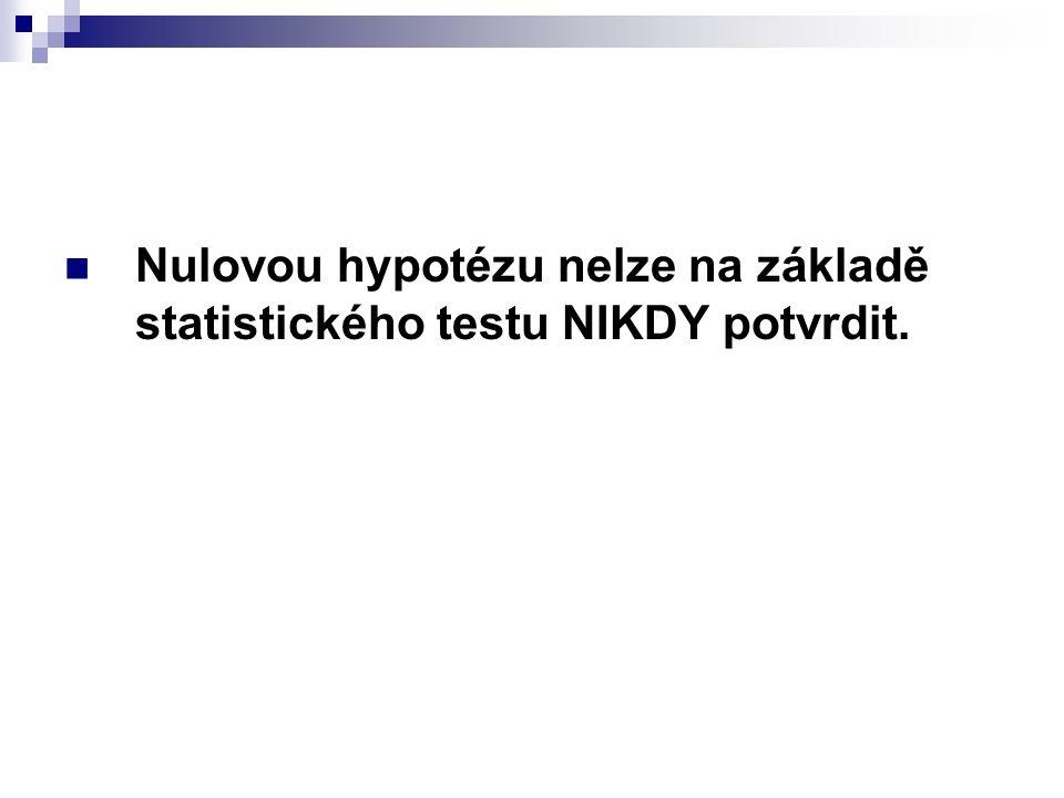 Nulovou hypotézu nelze na základě statistického testu NIKDY potvrdit.