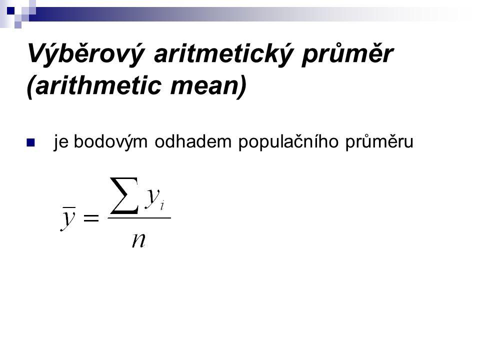 Výběrový aritmetický průměr (arithmetic mean) je bodovým odhadem populačního průměru