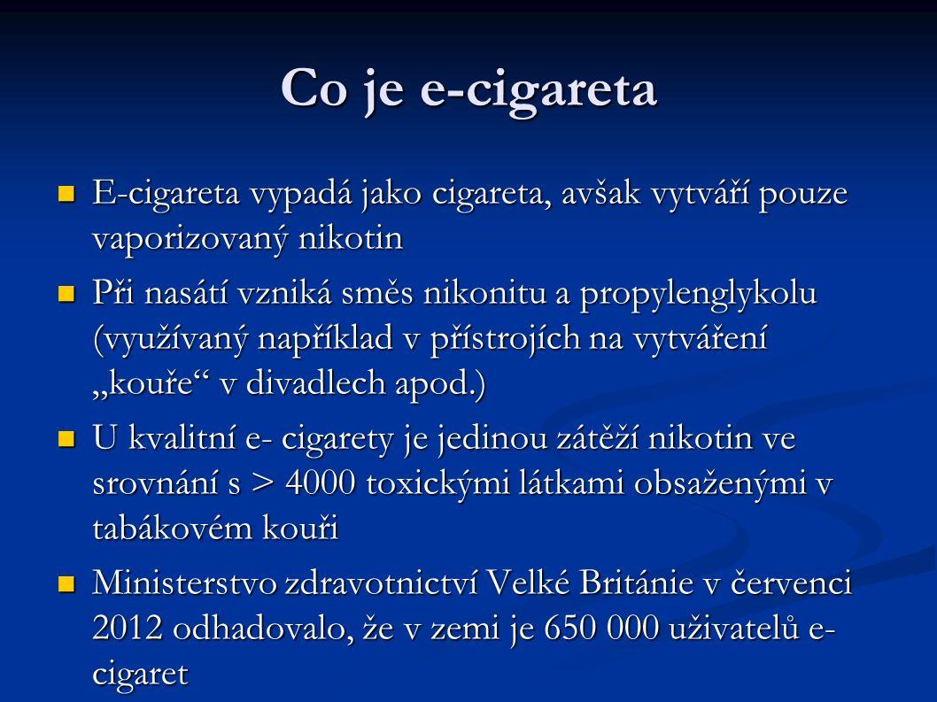 """Co je e-cigareta E-cigareta vypadá jako cigareta, avšak vytváří pouze vaporizovaný nikotin E-cigareta vypadá jako cigareta, avšak vytváří pouze vaporizovaný nikotin Při nasátí vzniká směs nikonitu a propylenglykolu (využívaný například v přístrojích na vytváření """"kouře v divadlech apod.) Při nasátí vzniká směs nikonitu a propylenglykolu (využívaný například v přístrojích na vytváření """"kouře v divadlech apod.) U kvalitní e- cigarety je jedinou zátěží nikotin ve srovnání s > 4000 toxickými látkami obsaženými v tabákovém kouři U kvalitní e- cigarety je jedinou zátěží nikotin ve srovnání s > 4000 toxickými látkami obsaženými v tabákovém kouři Ministerstvo zdravotnictví Velké Británie v červenci 2012 odhadovalo, že v zemi je 650 000 uživatelů e- cigaret Ministerstvo zdravotnictví Velké Británie v červenci 2012 odhadovalo, že v zemi je 650 000 uživatelů e- cigaret"""