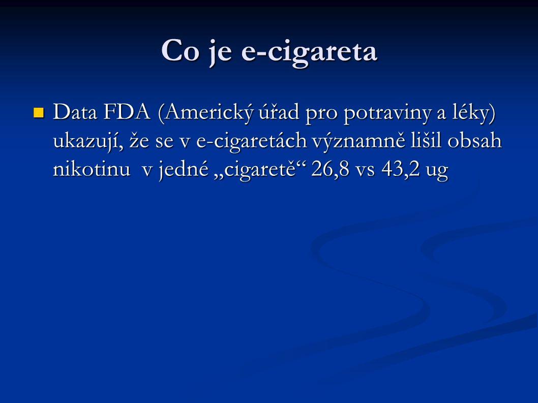 """Co je e-cigareta Data FDA (Americký úřad pro potraviny a léky) ukazují, že se v e-cigaretách významně lišil obsah nikotinu v jedné """"cigaretě 26,8 vs 43,2 ug Data FDA (Americký úřad pro potraviny a léky) ukazují, že se v e-cigaretách významně lišil obsah nikotinu v jedné """"cigaretě 26,8 vs 43,2 ug"""