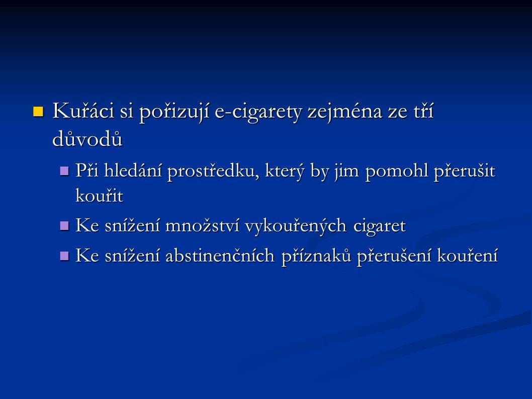 Kuřáci si pořizují e-cigarety zejména ze tří důvodů Kuřáci si pořizují e-cigarety zejména ze tří důvodů Při hledání prostředku, který by jim pomohl přerušit kouřit Při hledání prostředku, který by jim pomohl přerušit kouřit Ke snížení množství vykouřených cigaret Ke snížení množství vykouřených cigaret Ke snížení abstinenčních příznaků přerušení kouření Ke snížení abstinenčních příznaků přerušení kouření