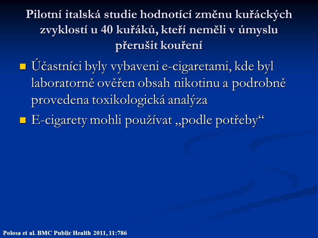 """Pilotní italská studie hodnotící změnu kuřáckých zvyklostí u 40 kuřáků, kteří neměli v úmyslu přerušit kouření Účastníci byly vybaveni e-cigaretami, kde byl laboratorně ověřen obsah nikotinu a podrobně provedena toxikologická analýza Účastníci byly vybaveni e-cigaretami, kde byl laboratorně ověřen obsah nikotinu a podrobně provedena toxikologická analýza E-cigarety mohli používat """"podle potřeby E-cigarety mohli používat """"podle potřeby Polosa et al."""