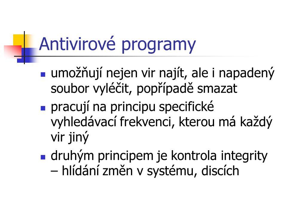 Antivirové programy umožňují nejen vir najít, ale i napadený soubor vyléčit, popřípadě smazat pracují na principu specifické vyhledávací frekvenci, kterou má každý vir jiný druhým principem je kontrola integrity – hlídání změn v systému, discích