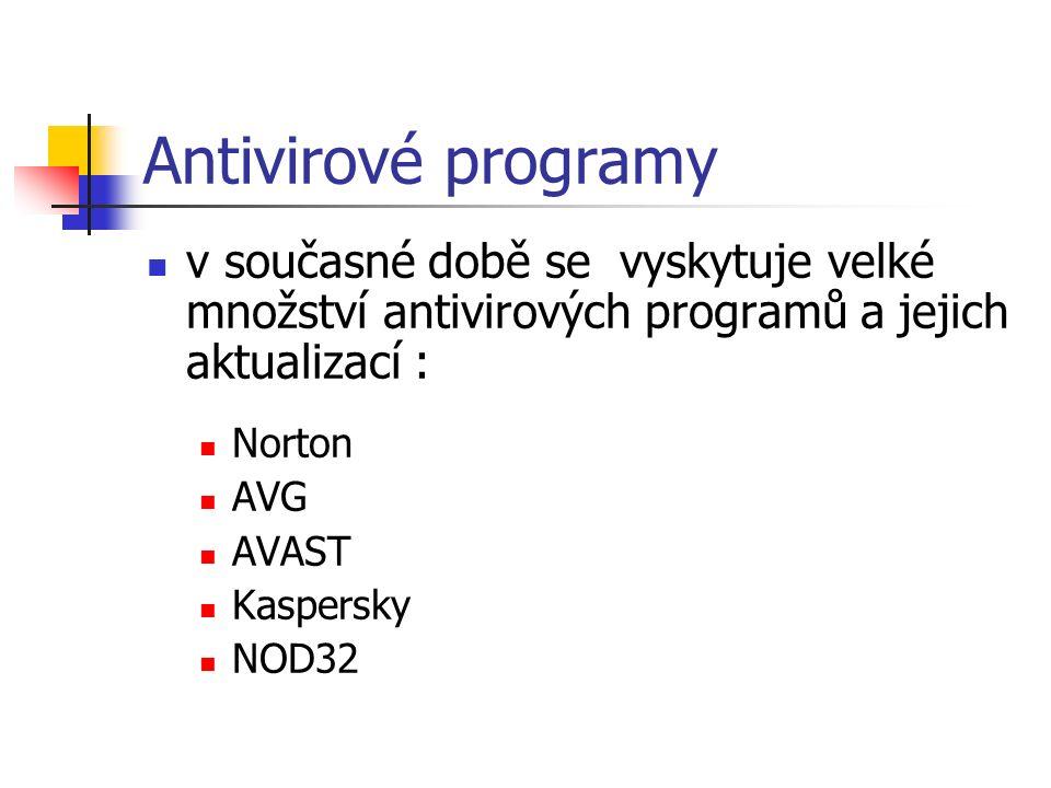 Antivirové programy v současné době se vyskytuje velké množství antivirových programů a jejich aktualizací : Norton AVG AVAST Kaspersky NOD32