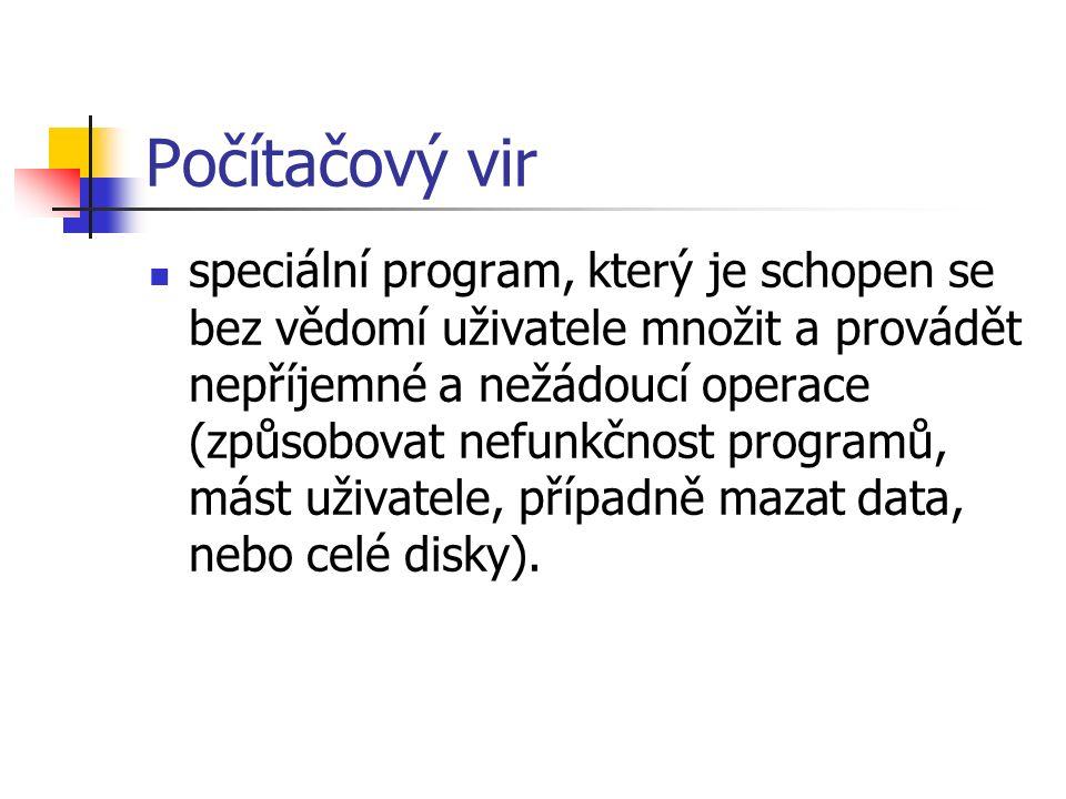 Počítačový vir speciální program, který je schopen se bez vědomí uživatele množit a provádět nepříjemné a nežádoucí operace (způsobovat nefunkčnost pr