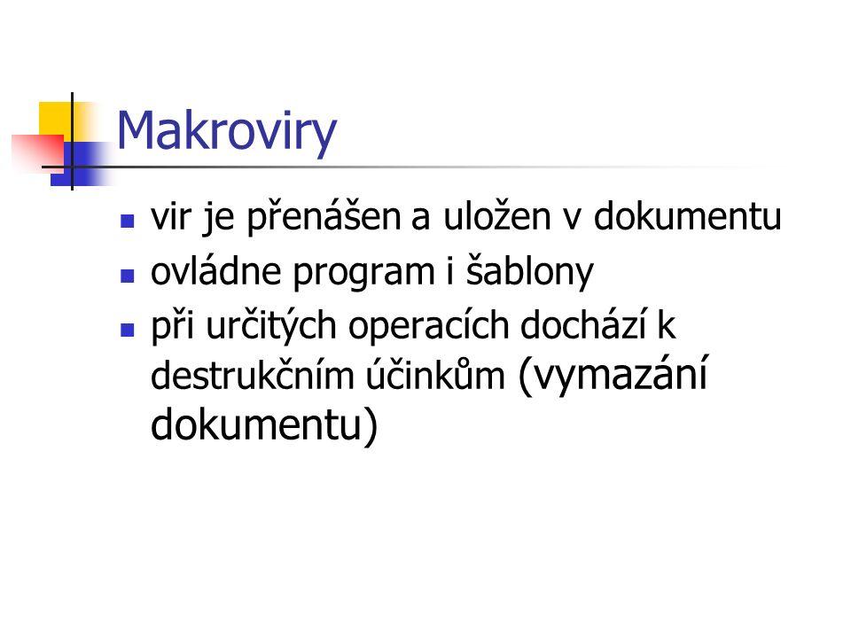 Makroviry vir je přenášen a uložen v dokumentu ovládne program i šablony při určitých operacích dochází k destrukčním účinkům (vymazání dokumentu)