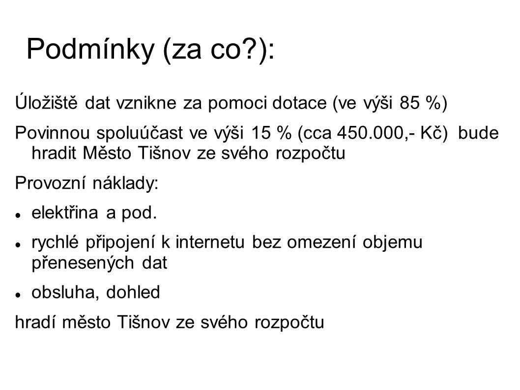 Podmínky (za co ): Úložiště dat vznikne za pomoci dotace (ve výši 85 %) Povinnou spoluúčast ve výši 15 % (cca 450.000,- Kč) bude hradit Město Tišnov ze svého rozpočtu Provozní náklady: elektřina a pod.