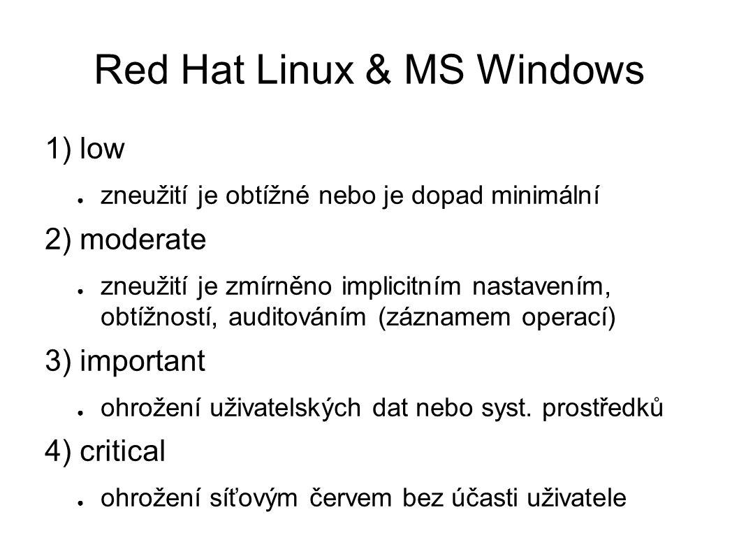 Red Hat Linux & MS Windows 1) low ● zneužití je obtížné nebo je dopad minimální 2) moderate ● zneužití je zmírněno implicitním nastavením, obtížností, auditováním (záznamem operací) 3) important ● ohrožení uživatelských dat nebo syst.