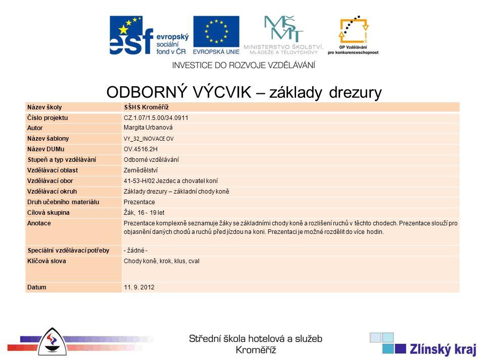 Název školySŠHS Kroměříž Číslo projektuCZ.1.07/1.5.00/34.0911 Autor Margita Urbanová Název šablony VY_32_INOVACE OV Název DUMuOV.4516.2H Stupeň a typ vzděláváníOdborné vzdělávání Vzdělávací oblastZemědělství Vzdělávací obor41-53-H/02 Jezdec a chovatel koní Vzdělávací okruhZáklady drezury – základní chody koně Druh učebního materiáluPrezentace Cílová skupinaŽák, 16 - 19 let Anotace Prezentace komplexně seznamuje žáky se základními chody koně a rozlišení ruchů v těchto chodech.
