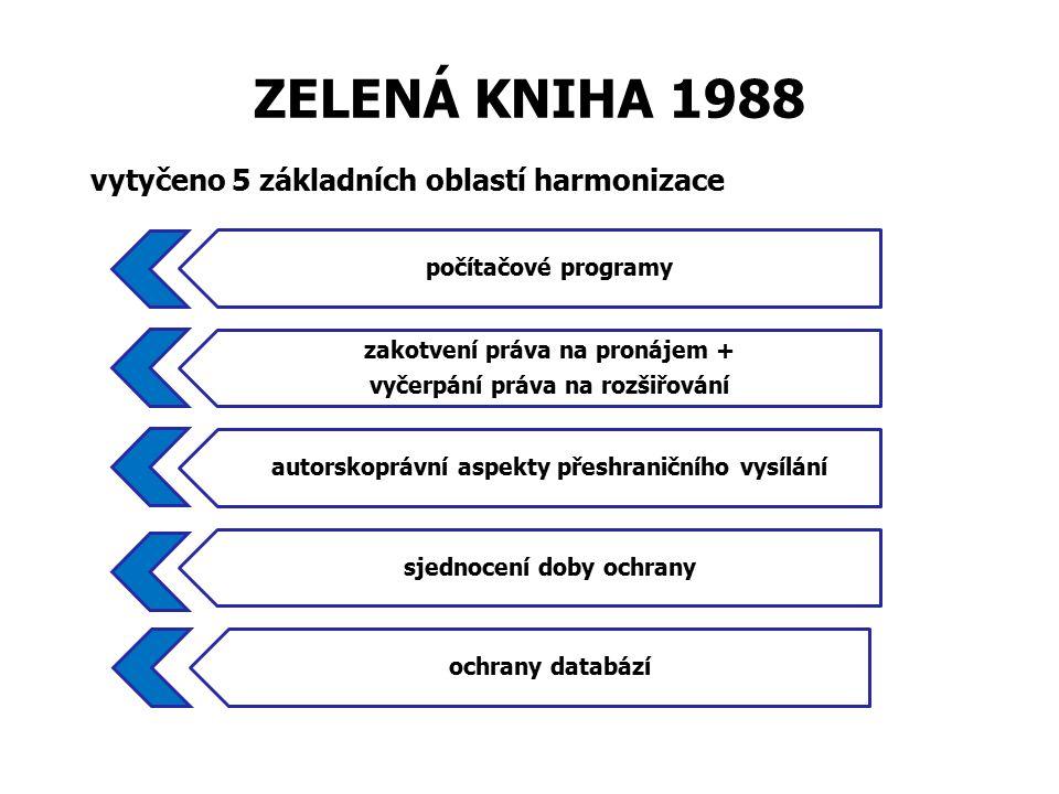 ZELENÁ KNIHA 1988 vytyčeno 5 základních oblastí harmonizace počítačové programy zakotvení práva na pronájem + vyčerpání práva na rozšiřování autorskoprávní aspekty přeshraničního vysílání sjednocení doby ochrany ochrany databází