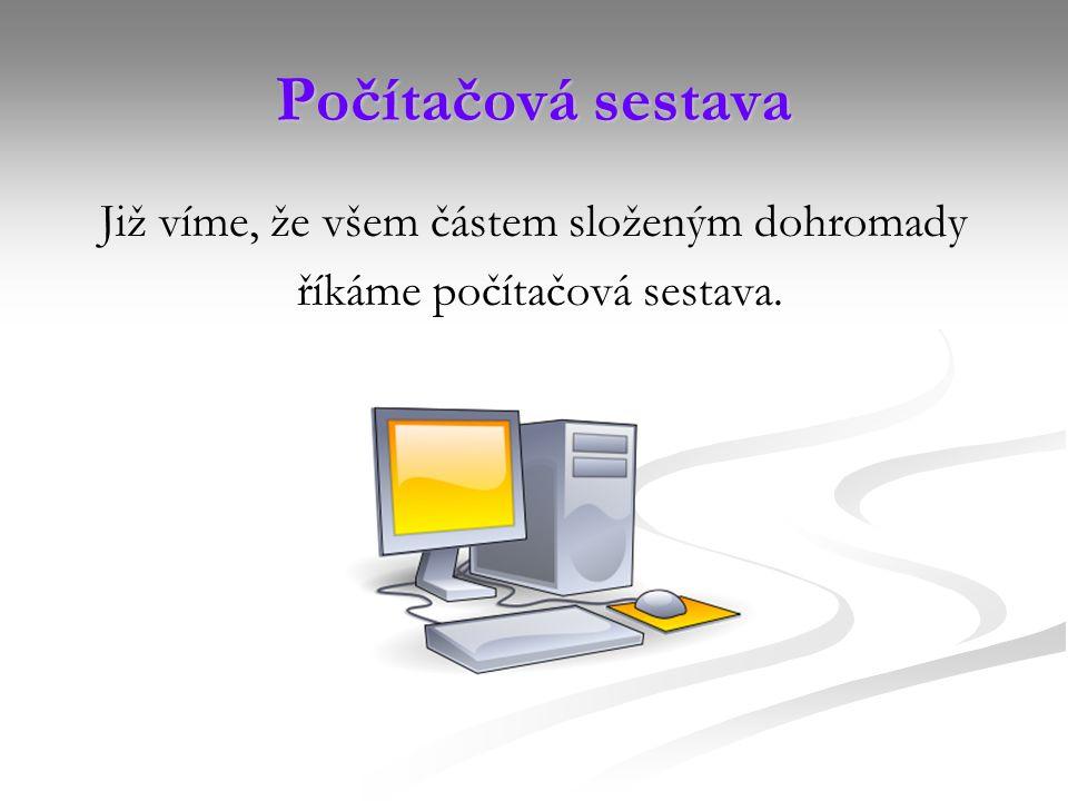 Počítačová sestava Již víme, že všem částem složeným dohromady říkáme počítačová sestava.