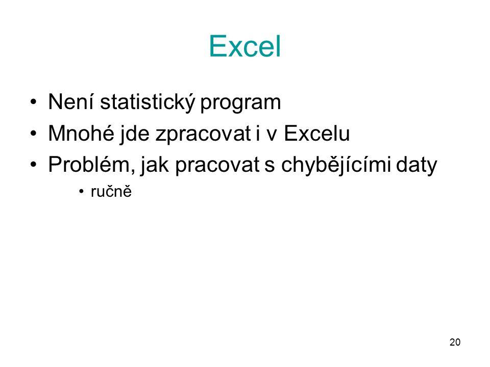 20 Excel Není statistický program Mnohé jde zpracovat i v Excelu Problém, jak pracovat s chybějícími daty ručně