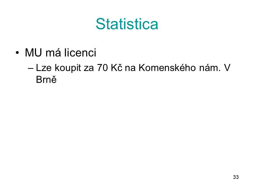33 Statistica MU má licenci –Lze koupit za 70 Kč na Komenského nám. V Brně