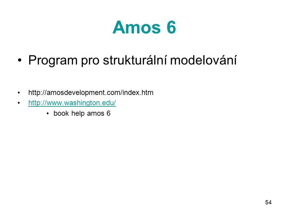 54 Amos 6 Program pro strukturální modelování http://amosdevelopment.com/index.htm http://www.washington.edu/ book help amos 6