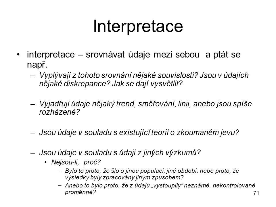 71 Interpretace interpretace – srovnávat údaje mezi sebou a ptát se např.
