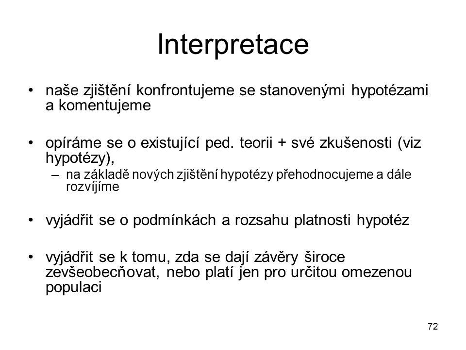 72 Interpretace naše zjištění konfrontujeme se stanovenými hypotézami a komentujeme opíráme se o existující ped.